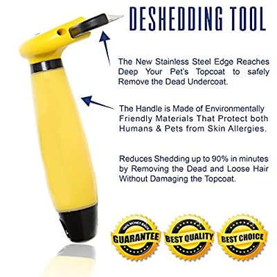 FurBuddy Pet Grooming deShedding Tool Reduces Shedding on All Types of Dogs & Cats in Minutes Without Damaging the Topcoat Guaranteed.