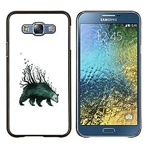 Qstar Arte & diseño plástico duro Fundas Cover Cubre Hard Case Cover para Samsung Galaxy E7 E700 (Tenga Forrest - arte abstracto)