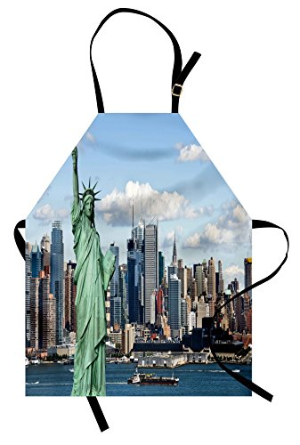 Ambesonne New York Apron, Liberty in NYC Harbor Urban City Print Famous Cultural Landmark Picture, Unisex Kitchen Bib with Adjustable Neck for Cooking Gardening, Adult Size, Mint Blue