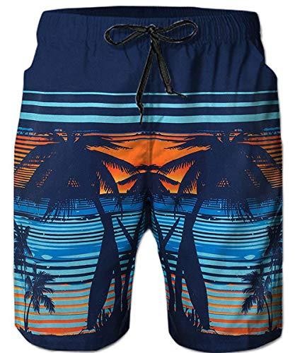 Drawstring Print Boardshorts - Loveternal Men's Quick Dry Swim Trunks Drawstring Waist Board Shorts for Boys Hawaiian Orange Sunset Coconut Beach Shorts with Mesh Lining Vintage Beach Wear for Men XL
