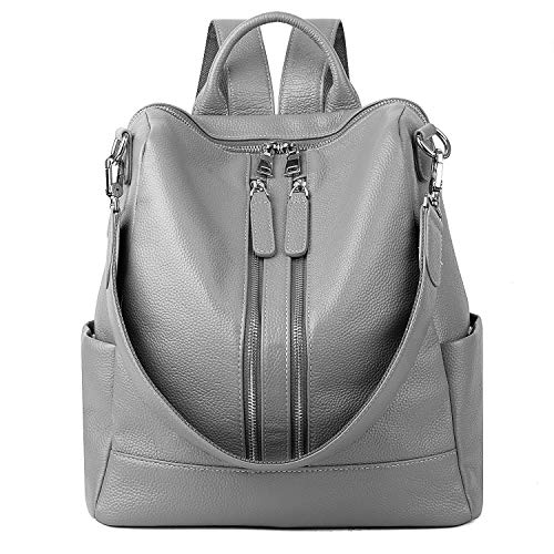 YALUXE Women's Convertible Real Leather Backpack Versatile Shoulder Bag (Upgraded 4.0) Grey Cow Leather Women Zipper