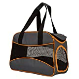 Pettom Pet Soft Side Travel Carrier Outdoor Foldable Deluxe Tote Bag for Dogs&Cats Up To 13lbs(Gray)