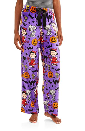 Women's Halloween Peanuts Snoopy Charlie Brown Super Minky Fleece Sleep Pants (X-Large/16-18) ()