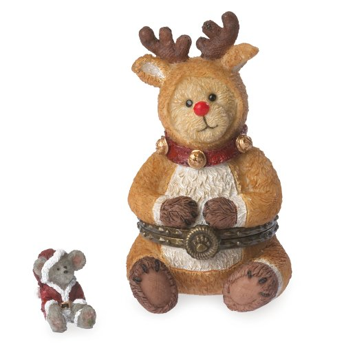Boyds Bears Rudolph w/Jolly McNibble Christmas Trinket Box