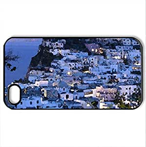 coastal town in italy at dusk - Case Cover for iPhone 4 and 4s (Houses Series, Watercolor style, Black) by lolosakes