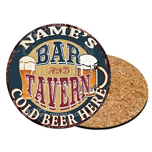 Any Name's BAR Tavern 6 of Set Custom Personalized Coasters Rustic Shabby Vintage Style Retro Kitchen Bar Pub Coffee Shop Housewarming Gift Wedding Gift Ideas (6)]()