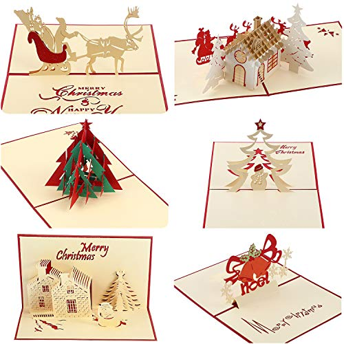 Gejoy 6 Pieces 3D Christmas Greeting Cards with Christmas Elements Patterns Holiday Pop up Card with Envelope for Xmas New Year Holiday, 6 Styles