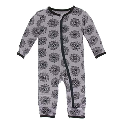 Kickee Pants Little Girls and Boys Print Coverall with Zipper - Feather Mandala, 0-3 Months