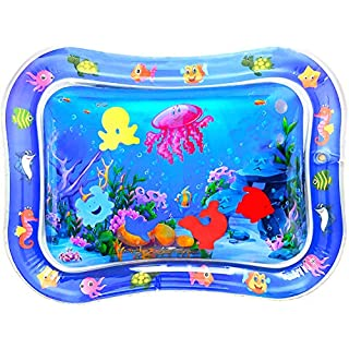 EMIDO Baby Water Mat Infant Toy Inflatable Play Mat, Newborn Infant&Toddlers, Inflatable Sensory Toys Gifts for Boy Girl BPA Free Infant Early Development Activity Centers