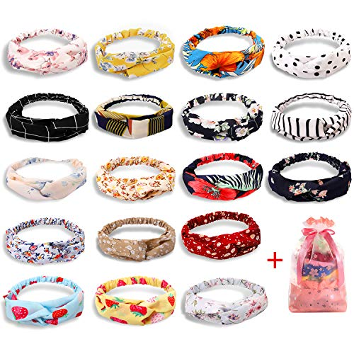 20 Pcs Boho Headbands for Women, Ginkano Floral Bandeau Headbands Elastic Hair Bands Criss Cross Hair Wrap Hair Accessories with 1PC Pouch Bag