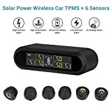 Blueskysea Solar Power Wireless TPMS Tire Pressure Monitoring System 6 External Sensors for Car RV Tow Trailer Pickup Truck, Real-time Alarm Pressure and Temperature LCD Display