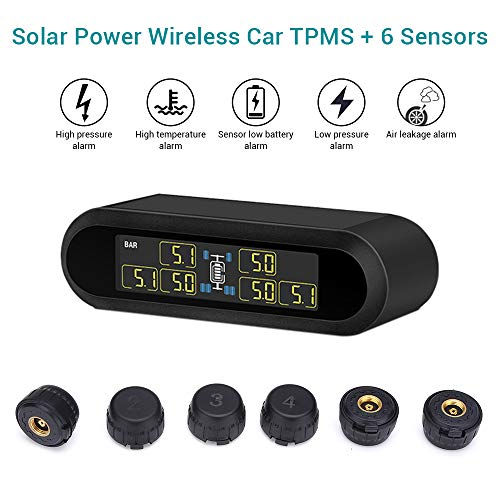 Blueskysea Solar Power Wireless TPMS Tire Pressure Monitoring System 6 External Sensors for Car RV Tow Trailer Pickup Truck, Real-time Alarm Pressure and Temperature LCD Display (Best Tire Pressure Monitoring System)