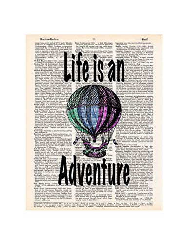 Hot Air Balloon, Life is an Adventure, Dictionary Page Art Print, 8x11 UNFRAMED