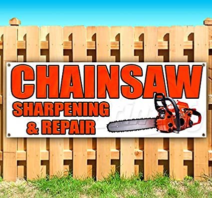 CHAINSAW SHARPENING AND REPAIR Advertising Vinyl Banner Flag Sign Many Sizes USA