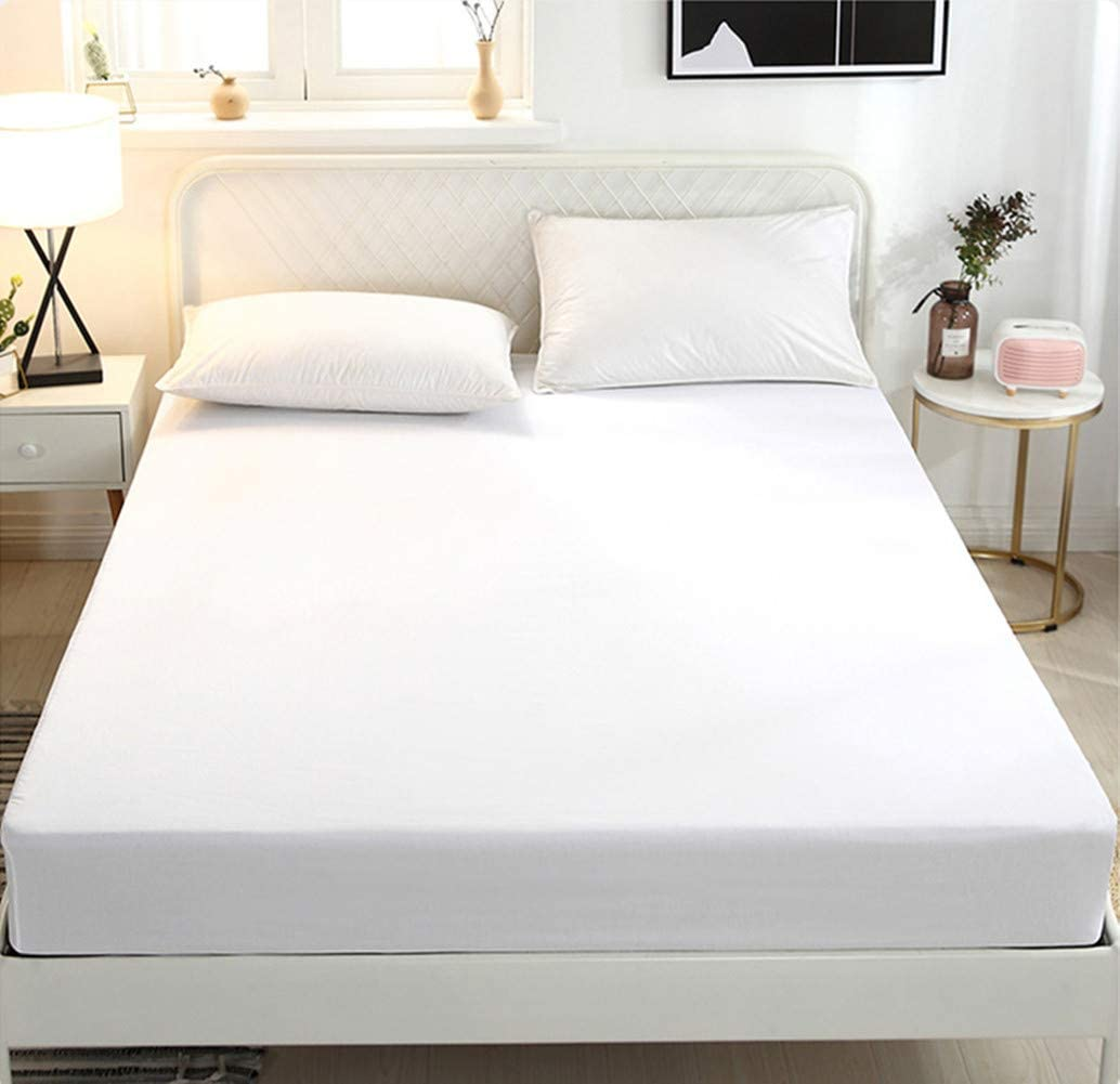 Soft and Breathable Bedsheet 100/% Natural Cotton Hotel Quality Top Sheet Fitted Sheet TXL Size White, TXL Deep Pocket up to 16 inches 1 Single White Fitted Bottom Sheet Only
