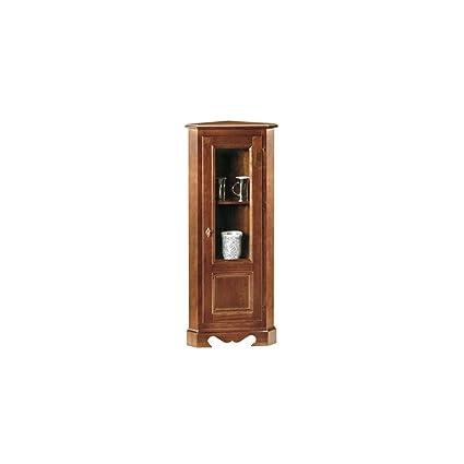 Vetrina ad angolo, stile classico, in legno massello e mdf con ...