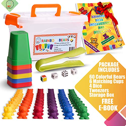 (Counting Bears With Matching/Sorting Cups, 4 Dice And An Activity e-Book. For Toddlers And Early Childhood Education. 70 pc Game Set)