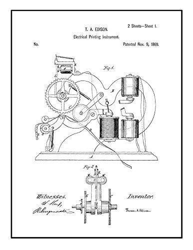 Frame a Patent Thomas Edison Electrical Printing Inst Patent