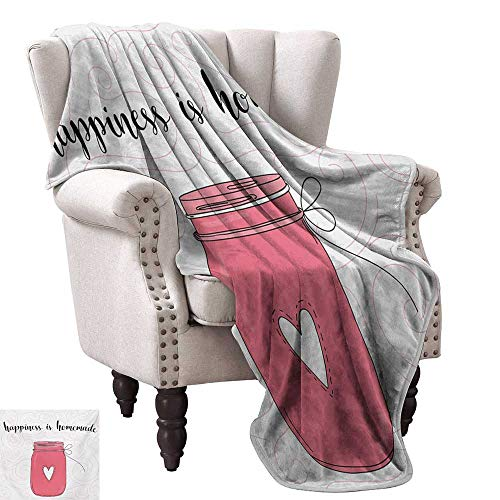 WinfreyDecor Quote Home Throw Blanket Calligraphic Happiness is Homemade Lettering with Swirls and Jar of Love Ultra Soft and Warm Hypoallergenic 50
