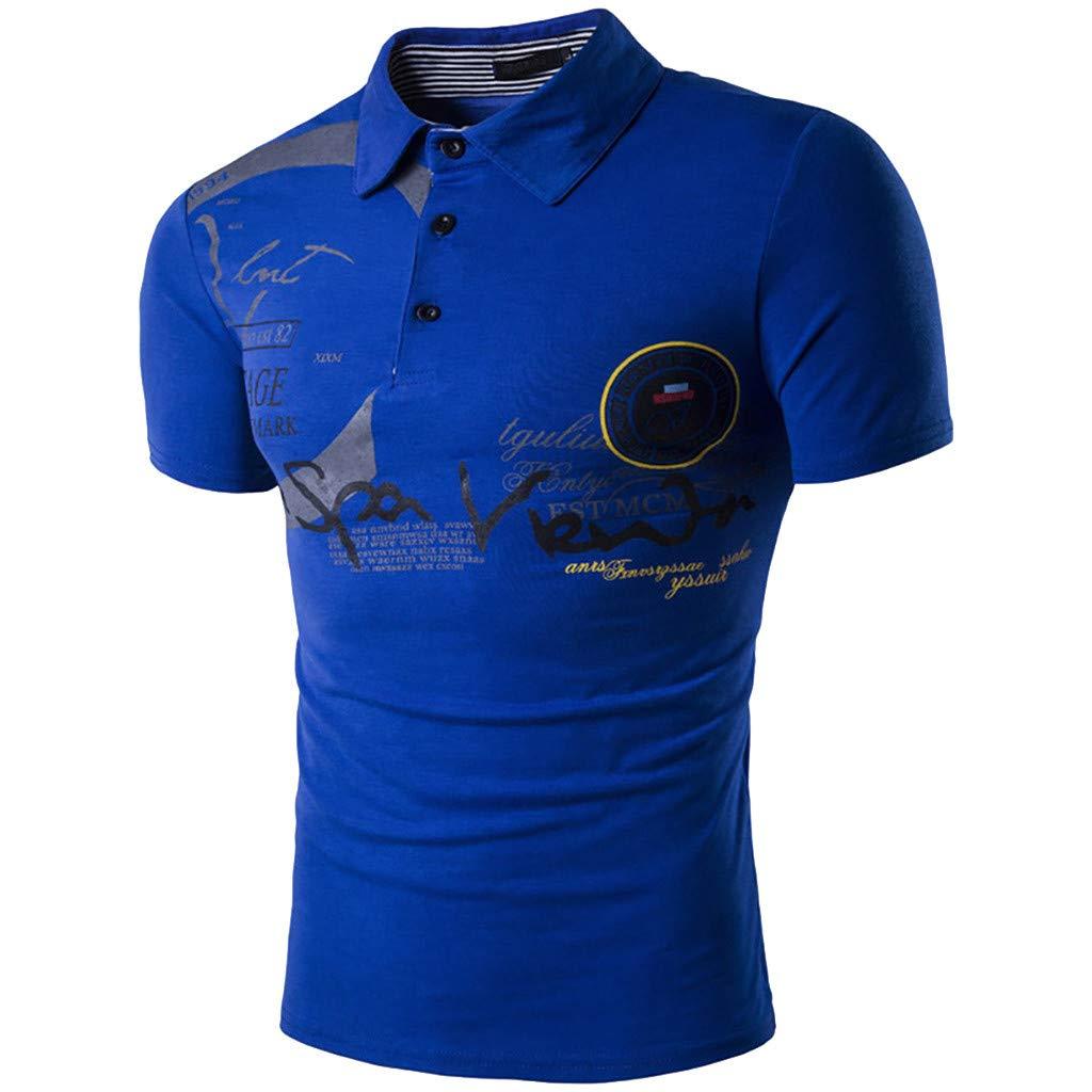XLnuln Fashion Mens Letter Button Personality Shirt Short Sleeve T-Shirt Blouse Tops Sleeve Waffle Henley Shirts