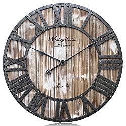 Westzytturm Wooden Clock 24 inches Extra Large Clock Wood Rustic Wall Clock Battery Operated Non Ticking Silent Quartz Sweep Farmhouse Antique Home Decor Clocks for Living Room Bedrooms Walls(Pink)