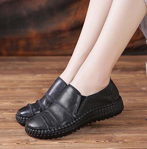 de Stitching Slip cuero Toe Round Eu 35 Corte Banda Ballerina zapatos On Zapatos Pump Mujer Black Flats 40 Casual Tamaño genuino Comforty Chelsea Elástica Botas qCIXwZa7Pn