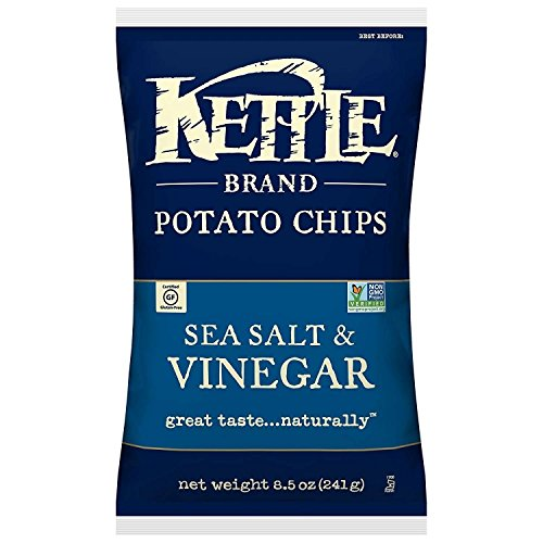 Kettle Brand Potato Chips, Sea Salt and Vinegar, 8.5 Ounce -