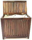 Redmon Genuine Vanity Style Hamper, Wood Grain Teak