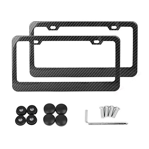 X AUTOHAUX 2 Pcs Carbon Fiber Style Car 2 Hole License Plate Frame Holder w/Screw Caps - Wide Rim