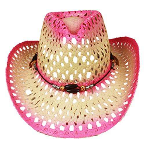 Silver Fever Ombre Woven Straw Cowboy Hat with Cut-outs,Beads, Chin Strap