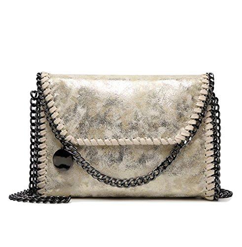 TOYU Envoy S PU Casual Gold Casual Black Lady Women's Carry Satchels Pocket Chain Chain Handbag Crossbody qUqYrw4d