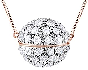 Round Cut White Natural Diamond Fashion Pendant Necklace In 14k Rose Gold