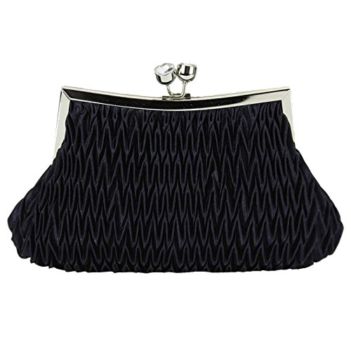 Ruched Clutch Bags Bridesmaid Satin Handbag Purse Women Evening Ladies Designer With Chain Design 1 - Navy