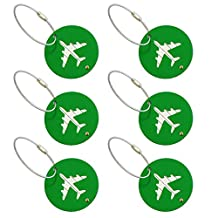 TopTie Bulk Aluminium Alloy Luggage Tags Pack of 6 ID Name Card with Metal Wire Travel Accessories-Green Round Plane-1 pack