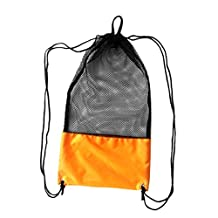 Dovewill Lightweight Mesh Drawstring Bag with Adjustable Shoulder Strap for Scuba Diving Swimming Gear Fins Mask Snorkel Snorkeling 19'' x 10.6''