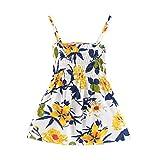 Tomppy Infant Toddler Baby Girls Sling Dresses Kids Summer Sleeveless Floral Beach Party Sundress White