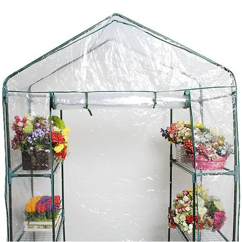 Portable 4 Shelves Greenhouse Outdoor 3 Tier Walk In Green House New