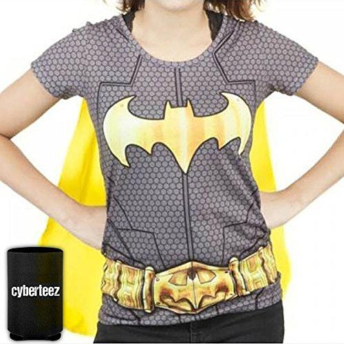 BATGIRL Sublimated Costume T-Shirt w/ Cape Women's Batman + Koozie (Batgirl Tshirt Costumes)