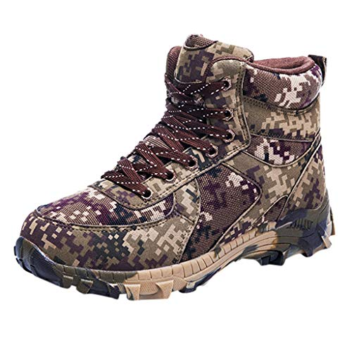 Camouflage Boots for Men Outdoor Tactical Breathable Microfiber Waterproof Military Hiking Snow Boots (US:9, Brown) (Dsquared2 Womens Buckle)