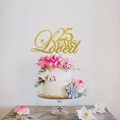 Amazon Custom 25 Years Loved Cake Topper Birthday Or 25th Anniversary Happy Script 50th 30th 20th