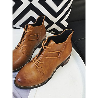 Booties Boots 5 CN37 For US6 7 5 Pu Casual Comfort Fashion 5 UK4 Heel Lace Toe Low Round Boots RTRY Winter Boots Brown EU37 Ankle Black Women'S Up Shoes fqwfFT07