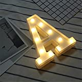 """Sekluxy Alphabet LED Letter Lights, Light Up White Plastic Letters Standing Hanging for Home Party Bar Wedding Decoration (A 8.7""""x7.1""""x1.8"""")"""