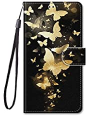 Miagon Full Body Case for Samsung Galaxy A42 5G,Colorful Pattern Design PU Leather Flip Wallet Case Cover with Magnetic Closure Stand Card Slot,Gold Butterfly