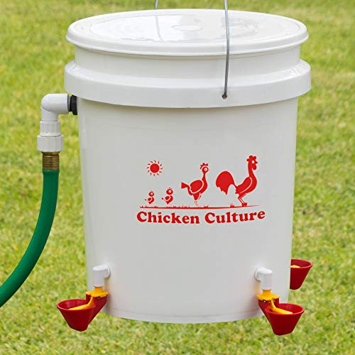 - Automatic Chicken Waterer Kit (Bucket NOT Included) - New Version Cups (from Holland) - Auto Float Valve (Made in USA) (4 Cups)