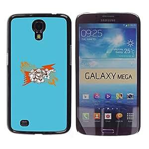 Caucho caso de Shell duro de la cubierta de accesorios de protección BY RAYDREAMMM - Samsung Galaxy Mega 6.3 - Resumen Azul