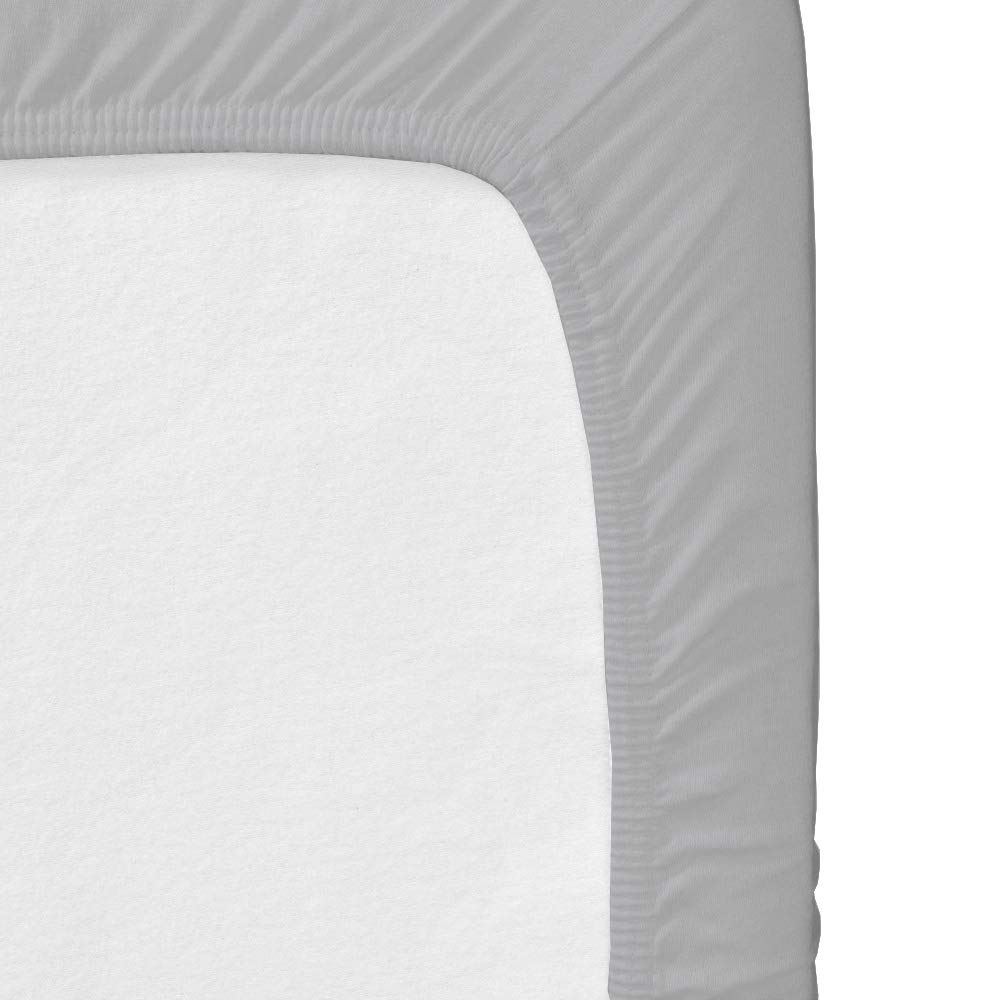 Crib Fitted Sheets - Fitted Crib Sheet - for Baby Girl & Boy as Toddler, 100% Cotton Mattress Covers for Bed Fitted and Stretchy, NO Struggle to Get on The Mattress- White and Light Grey by KP Linen (Image #4)