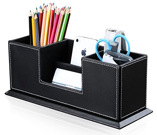 KINGFOM Office Supplies Desk Organizer PU Leather Storage Box 4 Divided Compartments for Pen Business Card Remote…