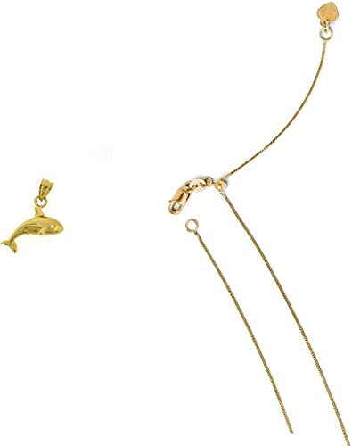 14K Yellow Gold Whales Pendant on an Adjustable 14K Yellow Gold Chain Necklace