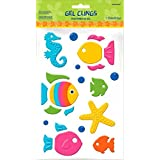 "Sun-Sational Summer Luau Party Assorted Fish and Sea Creatures Gel Cling Sticker Decoration, Rubber, 9"" x 6"" (Pkg. Size)"