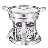 Jenify Shabu Shabu Hot Pot,DIY Stainless Stee Alcohol Burner Hot Pot & Lid Kitchen Cooking Tools Winter Party Cookware Soup Pot